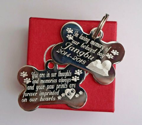 SILVER PERSONALISED PET DOG REMEMBRANCE TAG 38MM SILVER PLATED TAG IN GIFT BOX